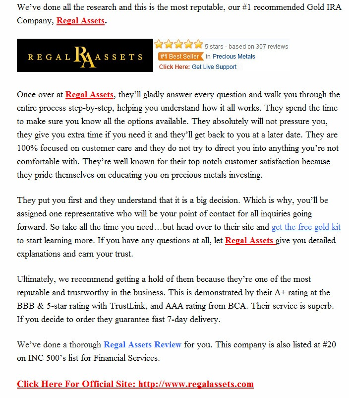 our regal assets recommendation