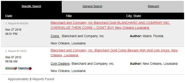 Blanchard gold ripoff report complaints