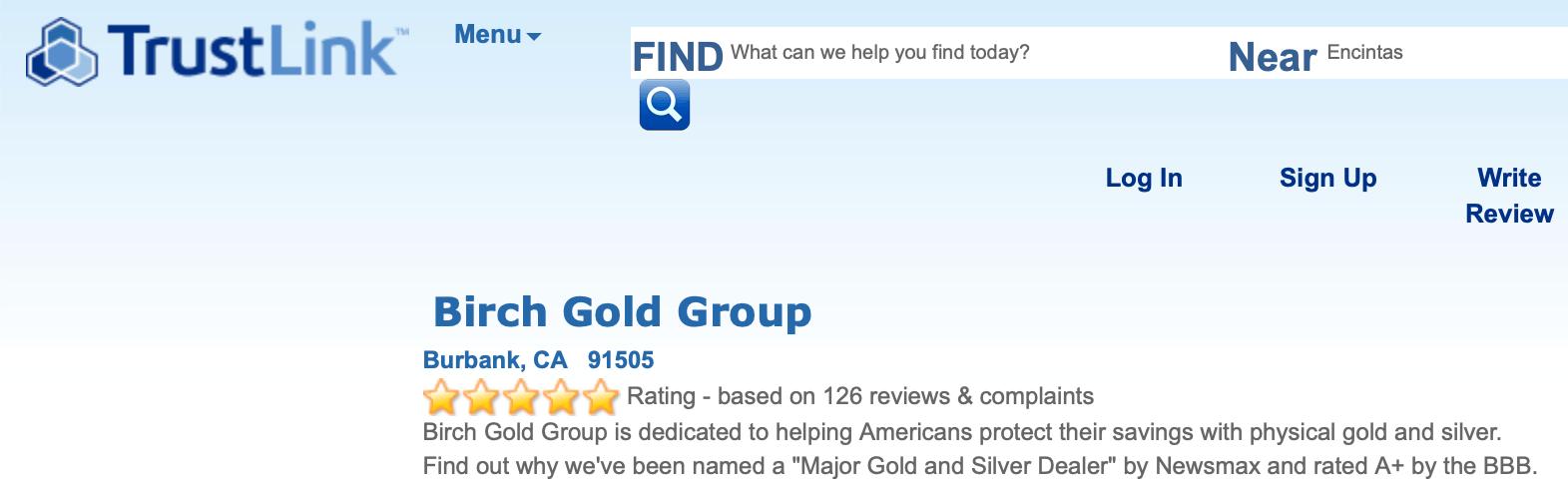 Birch Gold TrustLink rating