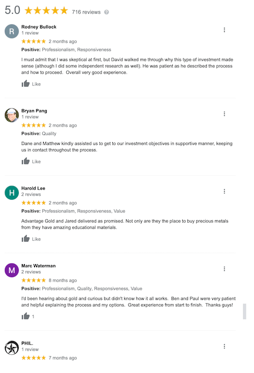 Advantage Gold Google positive reviews sample