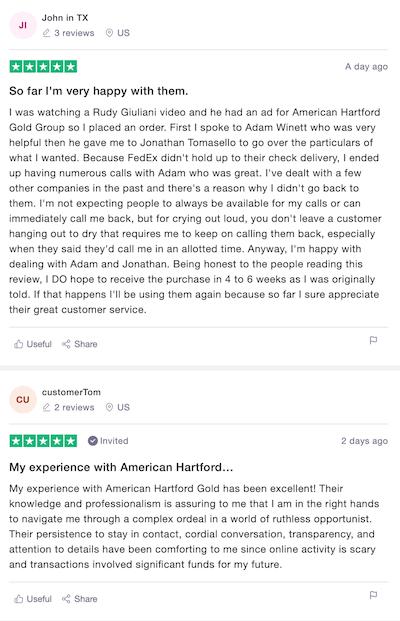 American Hartford Gold Trustpilot Reviews and Rating