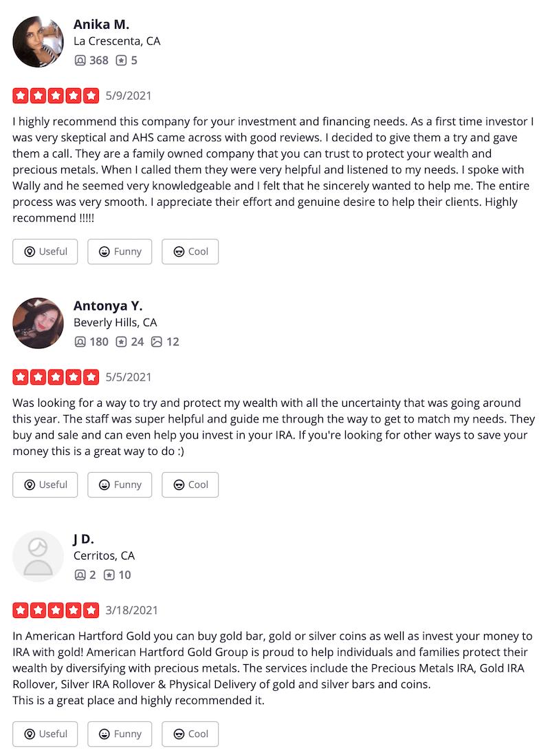American Hartford Gold Yelp Reviews Rating