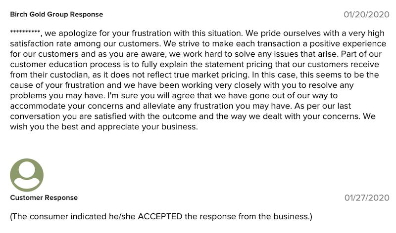 Birch Gold Group BBB company response 1-20-2020