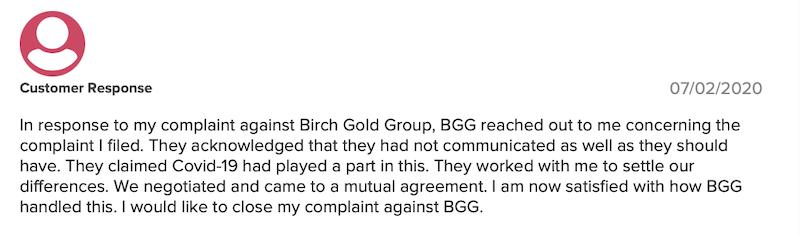 Birch Gold Group BBB customer response 07-02-2020