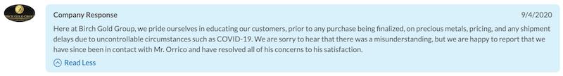 Birch Gold Group BCA company response 9-4-2020