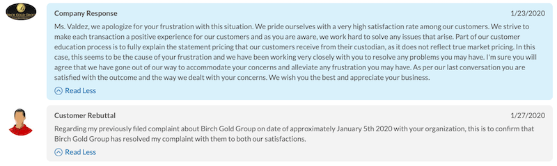 Birch Gold Group BCA review company response 1-27-2020