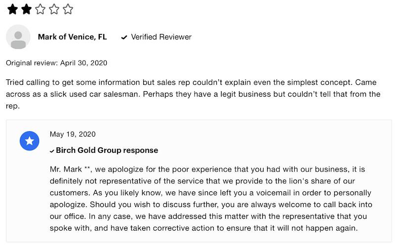 Birch Gold Group reviews Consumer Affairs complaint