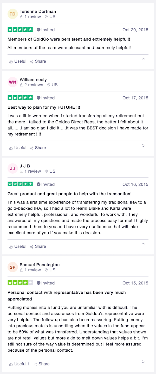 Goldco Direct customer reviews Trustpilot 5 stars