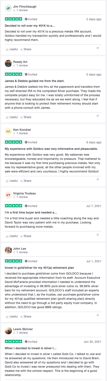 Goldco customer reviews Trustpilot 5 stars